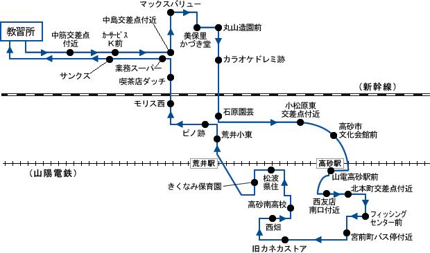 高砂・荒井方面 路線図